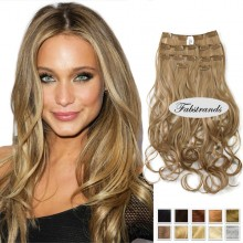 Beige Brown Wavy Clip In Hair Extensions