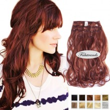Auburn Wavy Clip In Hair Extensions