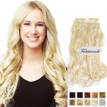 Bleach Blonde Wavy Clip In Hair Extensions
