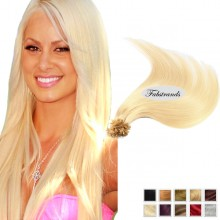 Bleach Blonde Nail Tip Pre Bonded Hair Extensions