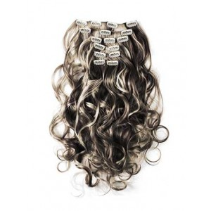 18 inch Blonde Highlight on Black Cheap Curly Clip in Hair Extensions 7pcs