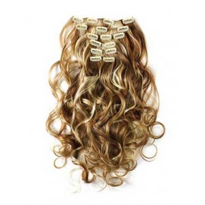 18 inch Blonde Highlight on Brown Cheap Curly Clip on Hair Extensions 7pcs