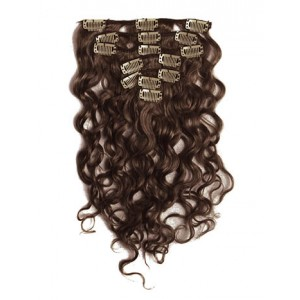 18 inch Chocolate Brown Cheap Curly Clip in Hair Extensions 7pcs