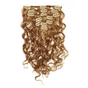 18 inch Golden Brown Cheap Curly Clip in Hair Extensions 7pcs