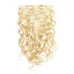 18 inch Wheat Blonde Cheap Curly Clip in Hair Extensions 7pcs