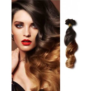 Black and Brown Loose Wave Clip on Extensions