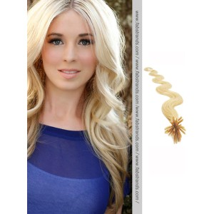 Bleach Blonde Wavy Stick Tip Hair Extensions
