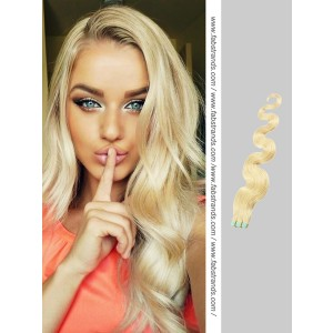 Bleach Blonde Wavy Tape in Hair Extensions