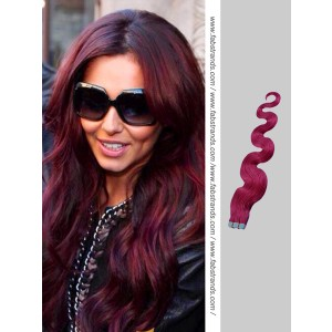 Burgundy Wavy Tape in Hair Extensions
