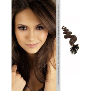 Chocolate Wavy Brown Stick Tip Hair Extensions