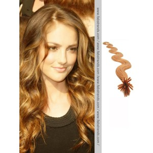 Light Brown Wavy Stick Tip Hair Extensions