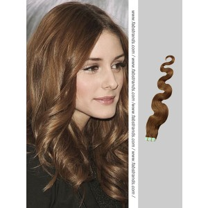 Medium Brown Wavy Tape in Hair Extensions