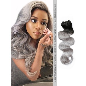 Black to Grey Body Wave Remy Hair Weaves
