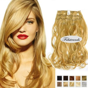 Strawberry Blonde Wavy Clip in extensionswavy clip in human hair extensions