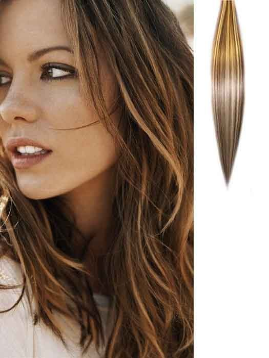 Brown With Blonde Highlights Clip In Hair Extensions