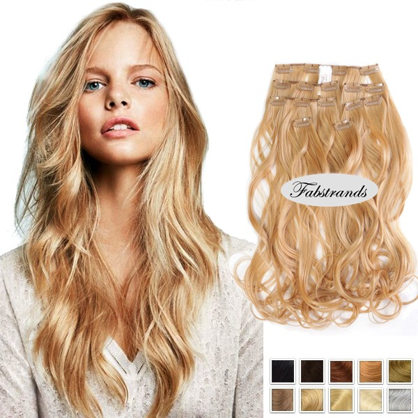 Wheat Blonde Hair Wavy Clip In Hair Extensions