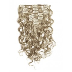 18 inch Ash Blonde Cheap Curly Clip in Hair Extensions 7pcs