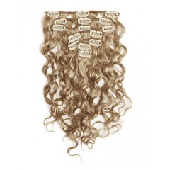 18 inch Ash Brown Cheap Curly Clip in Hair Extensions 7pcs