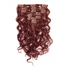 18 inch Auburn Cheap Curly Clip in Hair Extensions 7pcs