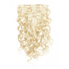 18 inch Bleach Blonde Cheap Curly Clip in Hair Extensions 7pcs