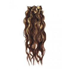 18 inch Blonde Highlight on Brown Cheap Wavy Clip in Hair Extensions 7pcs