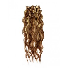 18 inch Blonde Highlight on Brown Cheap Wavy Clip on Hair Extensions 7pcs
