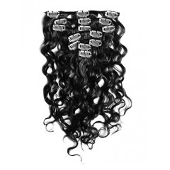18 inch Jet Black Cheap Curly Clip in Hair Extensions 7pcs