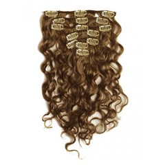 18 inch Medium Brown Cheap Curly Clip in Hair Extensions 7pcs