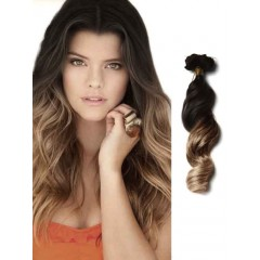 Black to Ash Brown Remy Human Hair Extensions