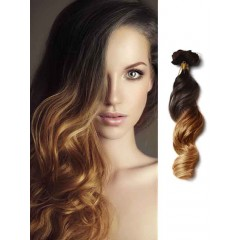 Black to Light Brown Loose Wave Ombre Hair Extension