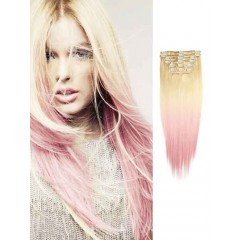 Blonde to Pink Silky Straight Ombre Hair Extensions