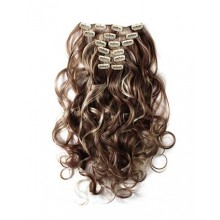 18 inch Blonde Highlight on Brown Cheap Curly Clip in Hair Extensions 7pcs