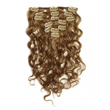 18 inch Chestnut Brown Cheap Curly Clip in Hair Extensions 7pcs