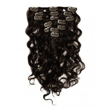 18 inch Natural Black Cheap Curly Clip in Hair Extensions 7pcs