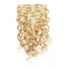 18 inch Pale Blonde Cheap Curly Clip in Hair Extensions 7pcs