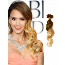Brown and Blonde Loose Wave Ombre Hair Extensions