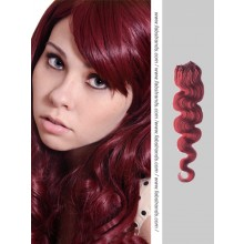 Burgundy Wavy Micro Loop Hair Extensions