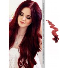 Burgundy Wavy Stick Tip Hair Extensions