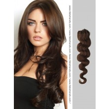 Dark Brown Wavy Micro Loop Hair Extensions