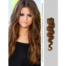 Medium Brown Wavy Micro Loop Hair Extensions