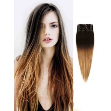 Ombre Human Hair Extensions Black to Brown