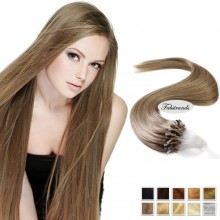 Beige Brown Micro Loop Human Hair Extensions