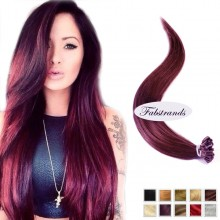 Burgundy I Tip Pre Bonded Hair Extensions