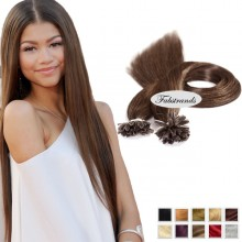 Chestnut Brown I Tip Pre Bonded Hair Extensions