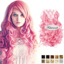 Pink Hair Wavy Clip In Hair Extensions